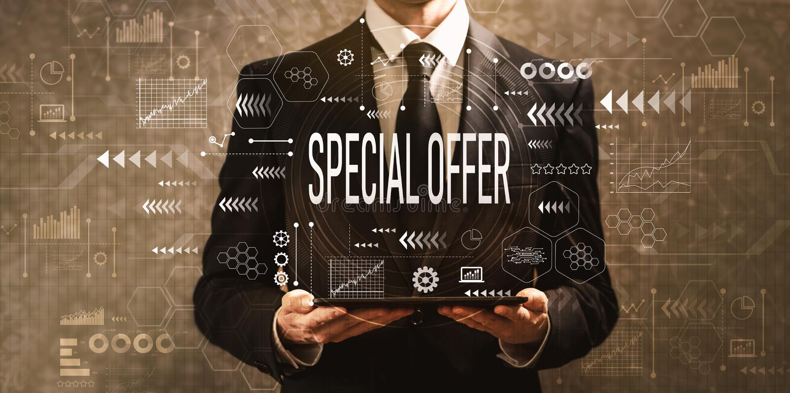 Special offer with businessman holding a tablet computer stock photos
