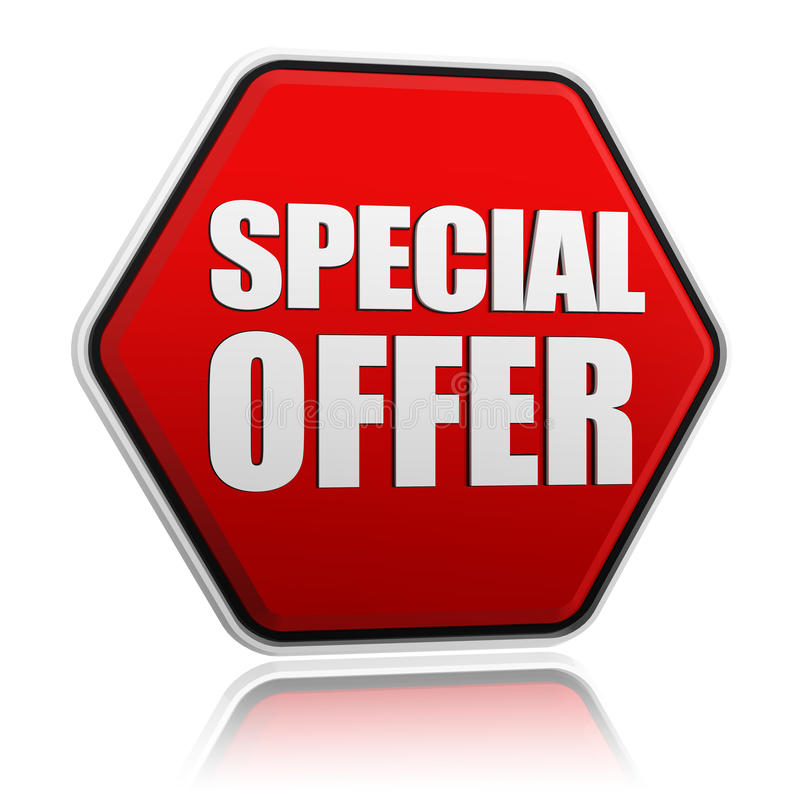 Special offer button. Text special offer in 3d red hexagon banner like button, business concept royalty free illustration