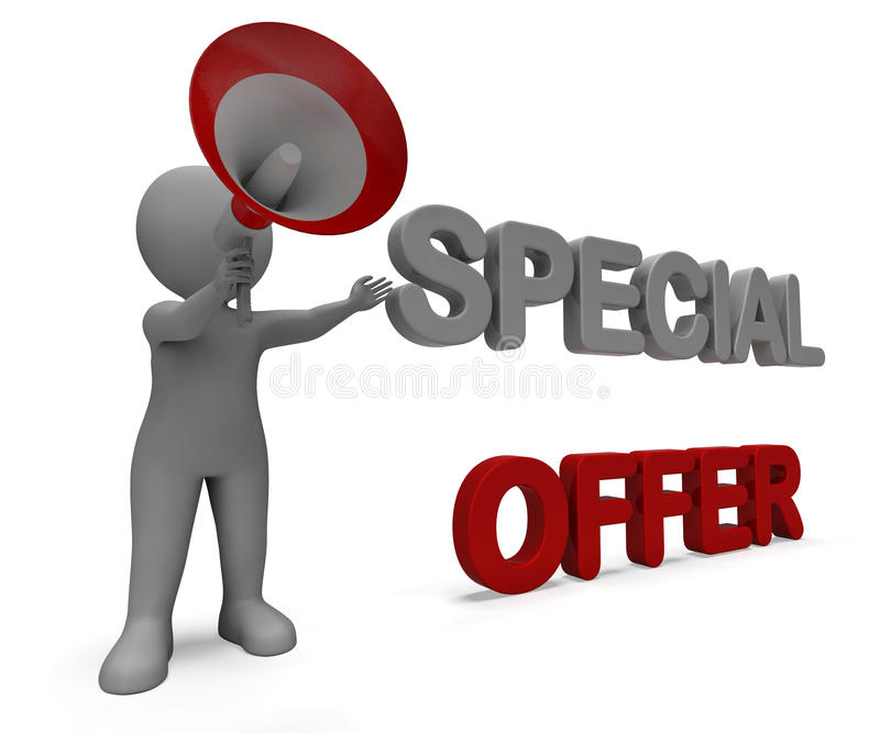 Special Offer Character Shows Bargain Offering. Special Offer Character Showing Bargain Offering Or Discount stock illustration