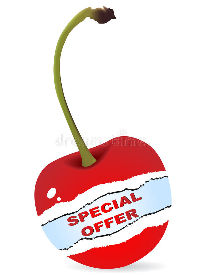 Special offer on cherry stock image