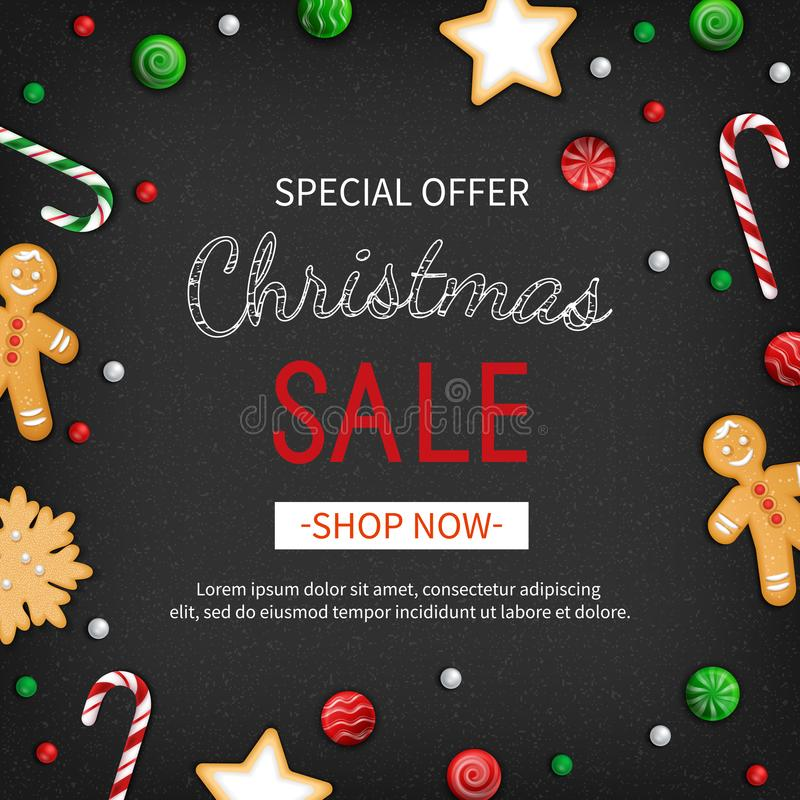 Special offer Christmas Sale. Discount flyer, big seasonal sale. Web banner with holiday sweets Xmas Greeting Card with Lettering stock illustration