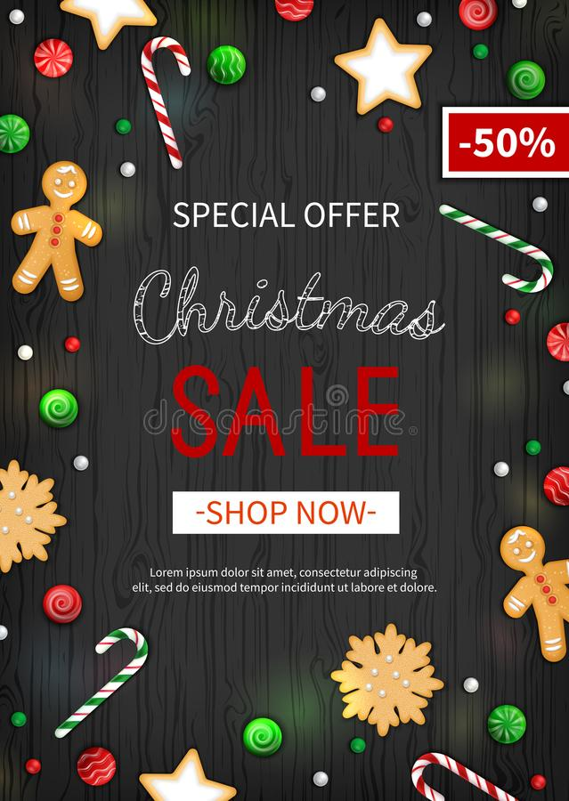 Special offer Christmas Sale. Vertical Discount flyer, big seasonal sale. Web banner with holiday sweets royalty free illustration
