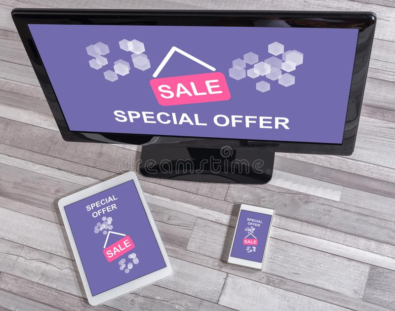 Special offer concept on different devices royalty free stock photography