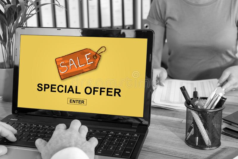 Special offer concept on a laptop royalty free stock photography