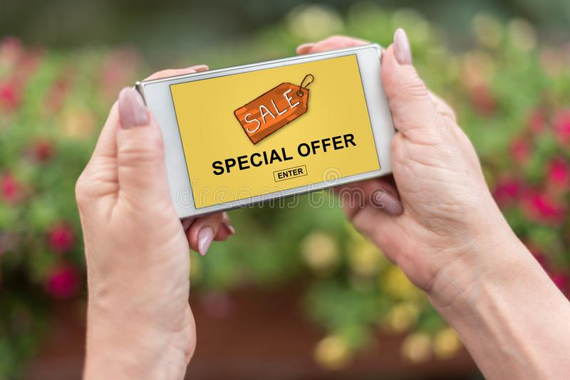 Special offer concept on a smartphone royalty free stock images