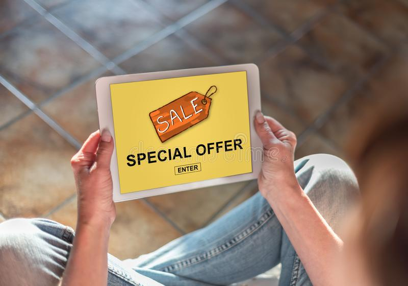 Special offer concept on a tablet royalty free stock photo