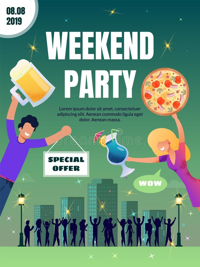 Pub Special Offer on Food and Drink Vector Poster royalty free illustration