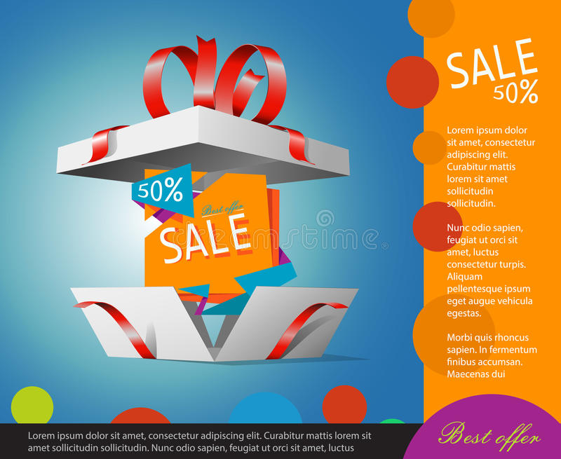 Special offer in a gift box. Gift coupon vector illustration