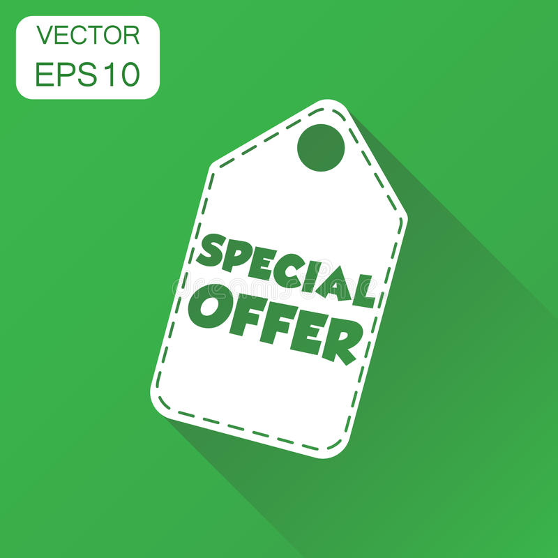 Special offer hang tag icon. Business concept sale shopping pict. Ogram. Vector illustration on green background with long shadow stock illustration