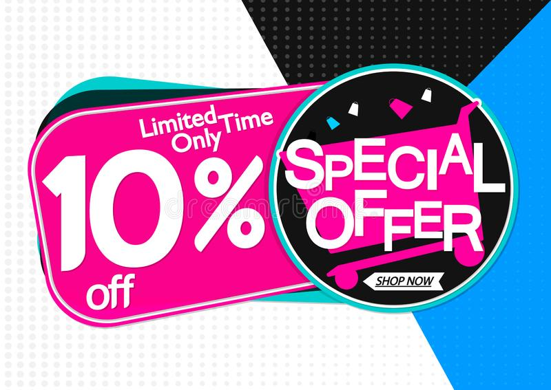 Special Offer, sale banner design template, discount 10% off, promo tag, app icon, vector illustration. Special Offer, sale banner design template, extra stock illustration
