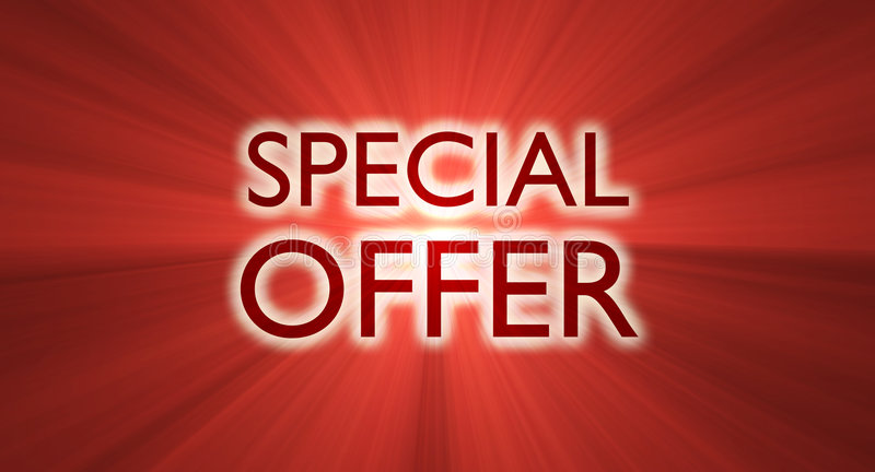 Special offer sale banner red flare. Special offer marketing promotional slogan with glowing red light flares