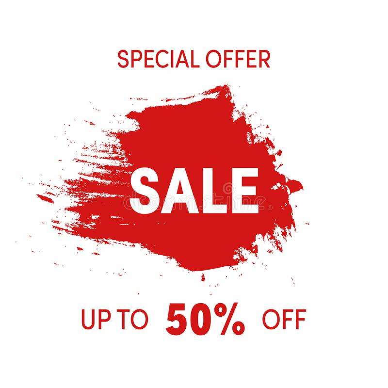 Download special offer sale sign grunge design shopping sticker red ink spot isolated
