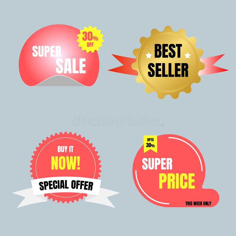 Special offer sale tag price, shopping concept, banner sign discount promotion price set. Flat design, vector, illustration royalty free illustration