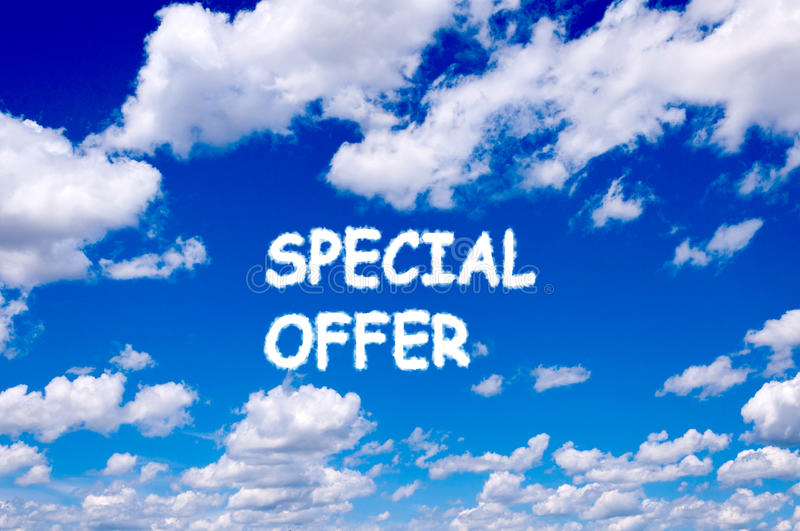Special offer. Sign clouds on the clear blue sky stock photo