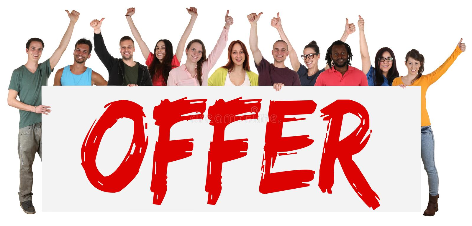 Special offer sign group of young people sale while shopping. Isolated stock images