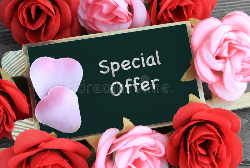 Special offer sign. Written on chalkboard royalty free stock photos
