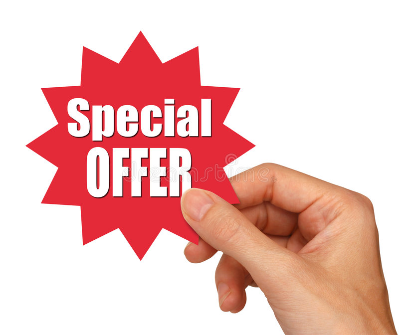 Special offer star. Hand holding special offer star with clipping path stock photography