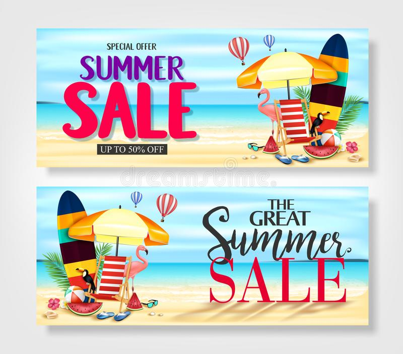 Special Offer Summer Sale Banners with Palm Tree Leaves, Flowers, Watermelon, Sunglasses royalty free illustration