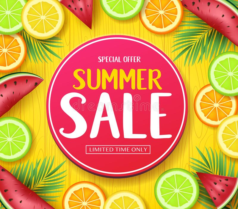 Special Offer Summer Sale in Circle Tag Poster with Tropical Fruits Such as Orange, Lime, Lemon and Watermelon in Yellow Wood Back vector illustration