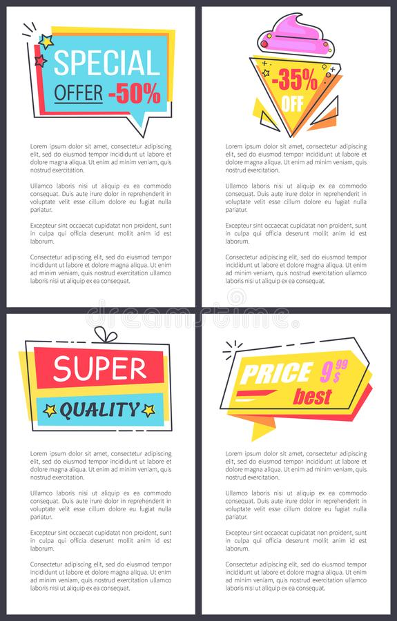 Special Offer, Super Quality Vector Illustration. Special offer and super quality, posters with stickers in forms of ice-cream, present and geometric shape with stock illustration