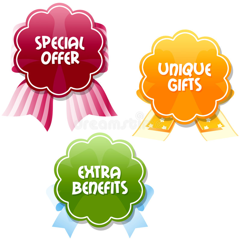 Special offer tags. Three special emblems encourage to meet: Special offers Unique gifts Extra Benefits