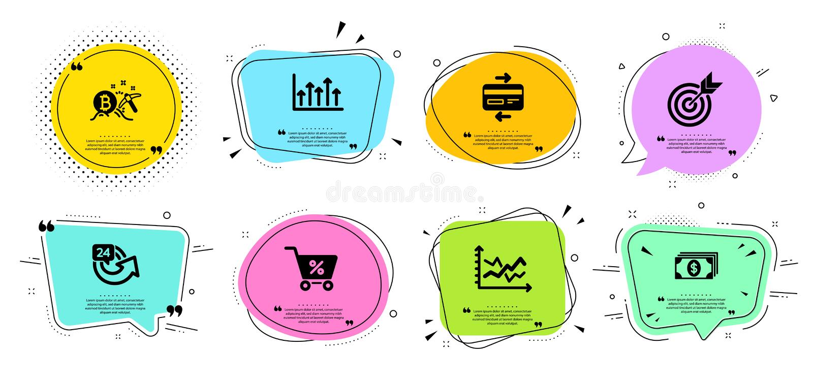 Special offer, Target and Growth chart icons set. Credit card, Diagram chart and Bitcoin mining signs. Vector. Special offer, Target and Growth chart line icons vector illustration
