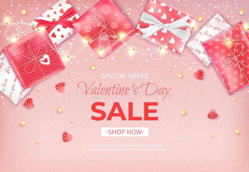 Special offer Valentine`s Day Sale. Discount flyer, big seasonal sale. Horizontal banner with garland, candies, confetti, beads vector illustration