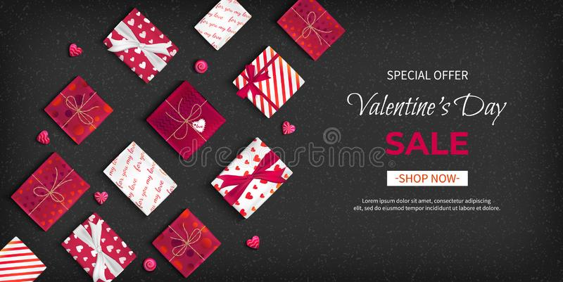 Special offer Valentine`s Day Sale. Discount flyer, big seasonal sale. Horizontal Web Banner with holiday gift Boxes stock illustration