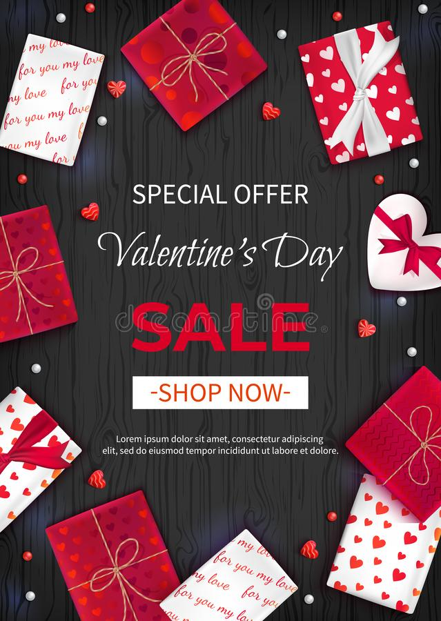 Special offer Valentine`s Day Sale. Discount flyer, big seasonal sale. Vertical Web Banner Background with Lollipops, gift Boxes royalty free illustration