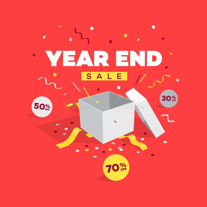 Special offer year end sale discount symbol with open gift, discount labels and confetti vector illustration