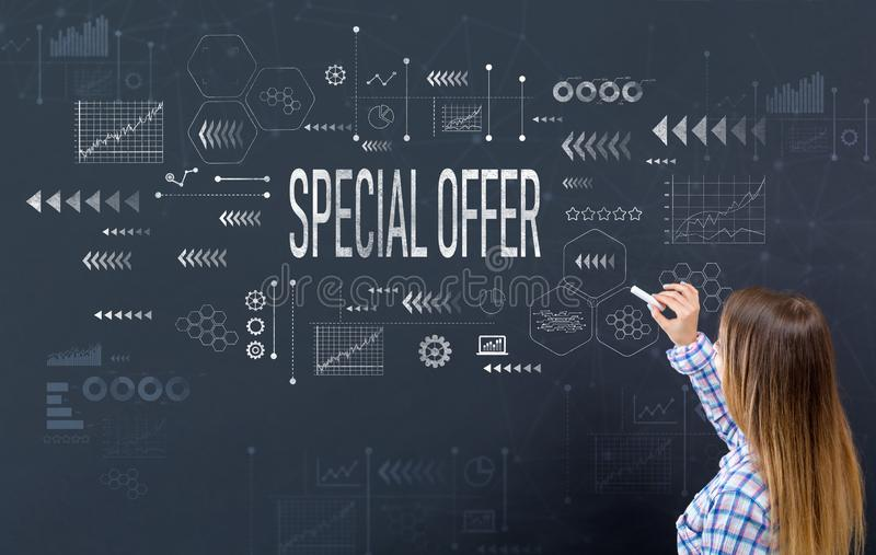 Special offer with young woman royalty free stock photos