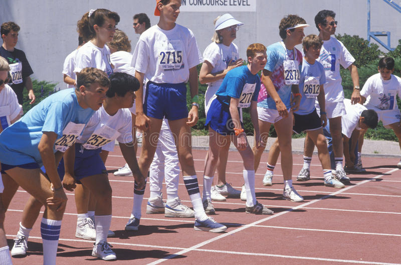 Special Olympics athletes at start line, UCLA, CA stock photos