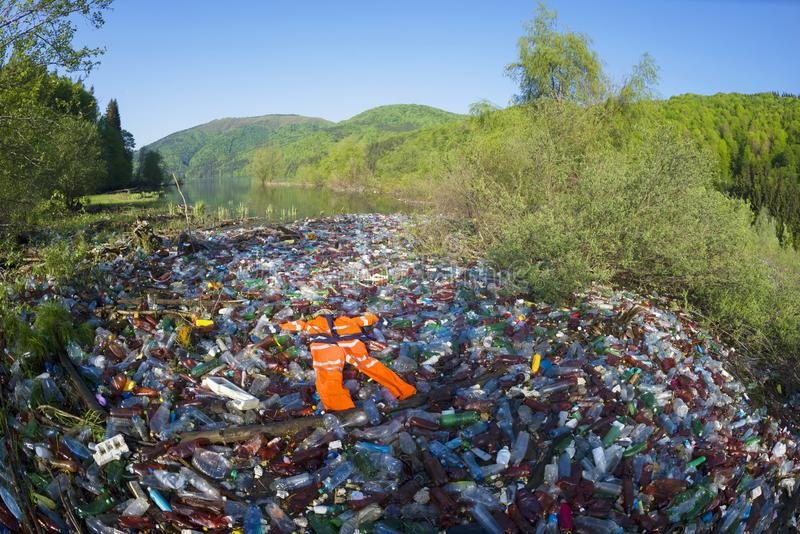 Special operation to clean up the river of debris royalty-vrije stock afbeelding