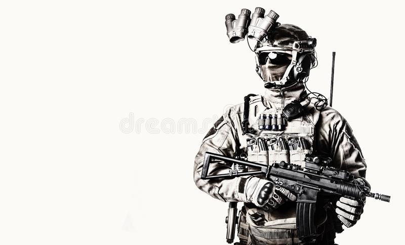 Special operations fighter studio shoot on white royalty free stock photos