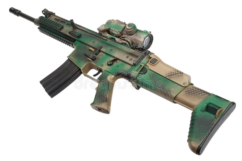Special Operations Forces Combat Assault Rifle isolated stock photo