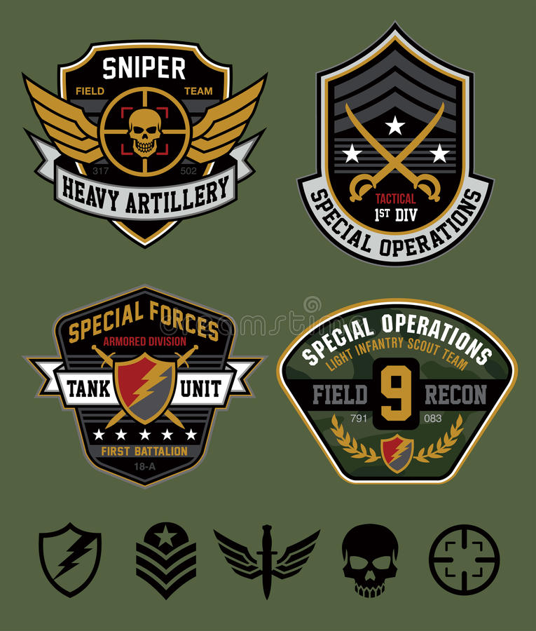 Special ops patch set. Original military-inspired emblem patch set with coordinating icon elements. Available in eps vector for easy editing