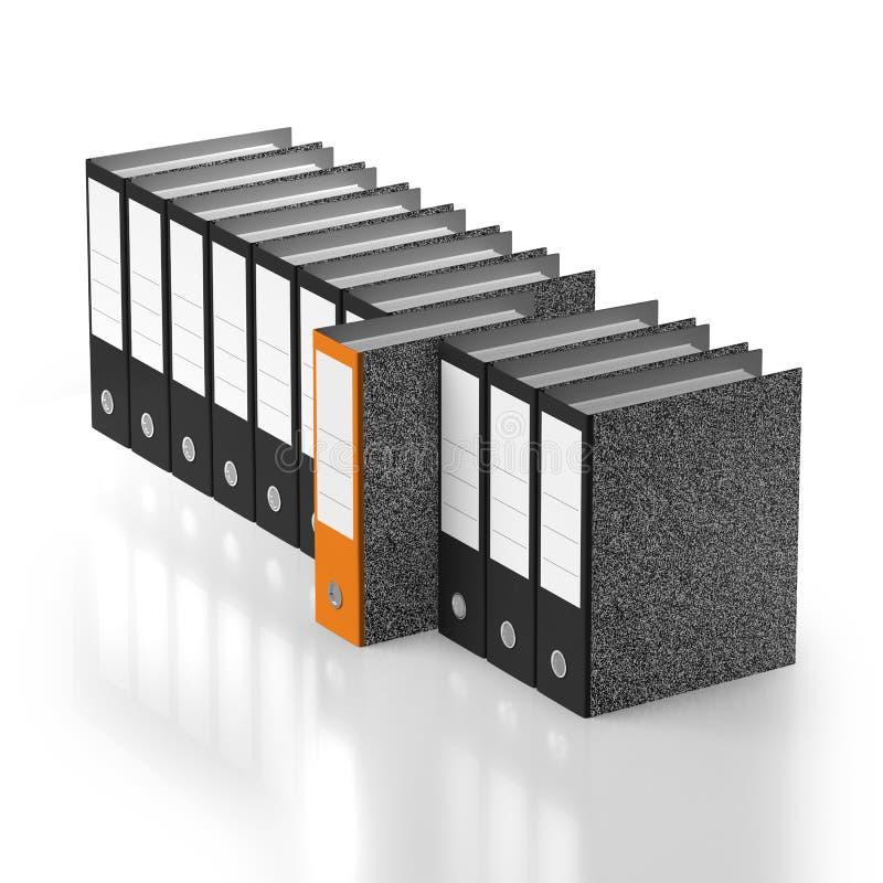 Special orange folder outstanding from line vector illustration