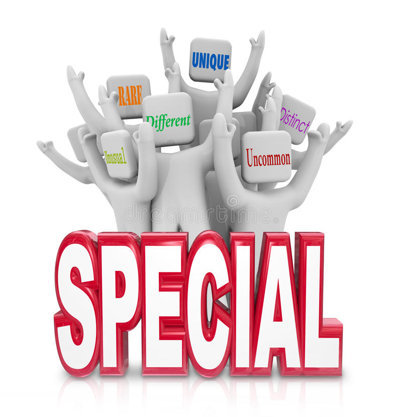Special People Team Cheering Unique Qualities Different Distinct royalty free illustration