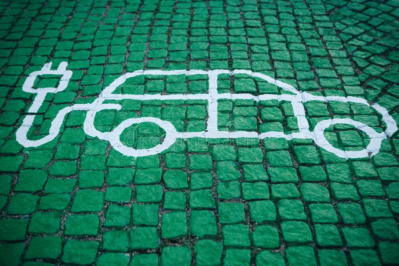 A special place for charging electric cars or vehicles. A modern and eco-friendly mode of transport that has become royalty free stock photography