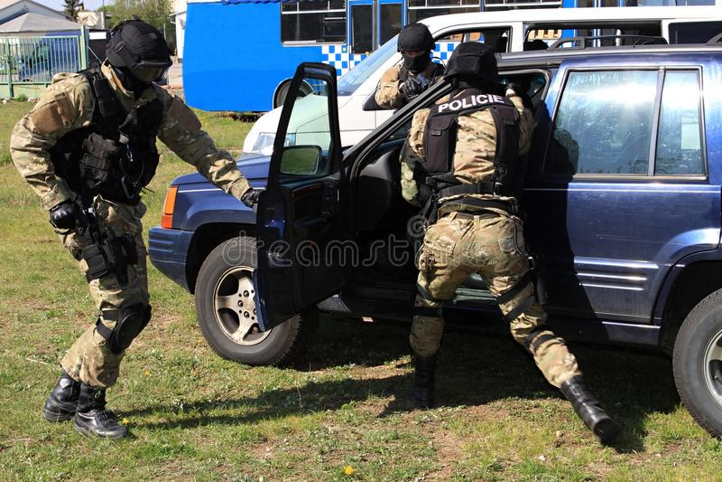 Special police commandos arrest a terrorist. Training SWAT stock photos