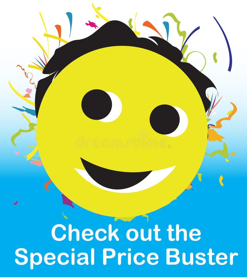 Special Price Buster Smiley stock illustration