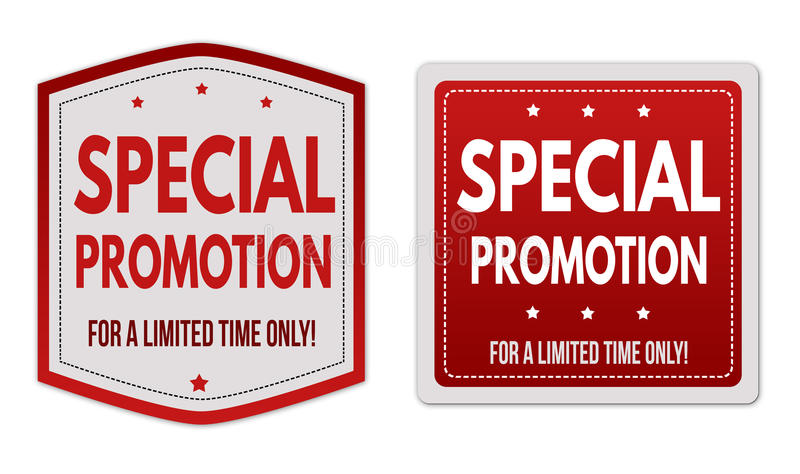 Special promotion stickers set stock illustration