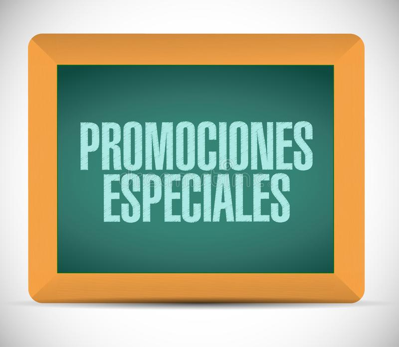 Special promotions in Spanish chalkboard sign. Concept illustration design graphic royalty free stock photo