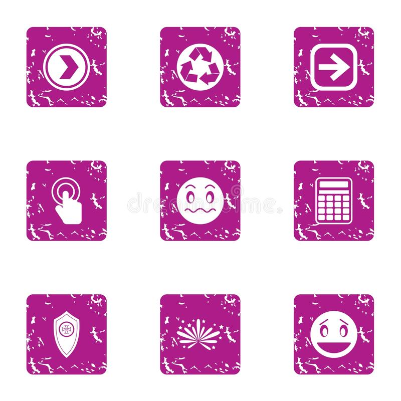 Special purpose technology icons set, grunge style royalty free illustration