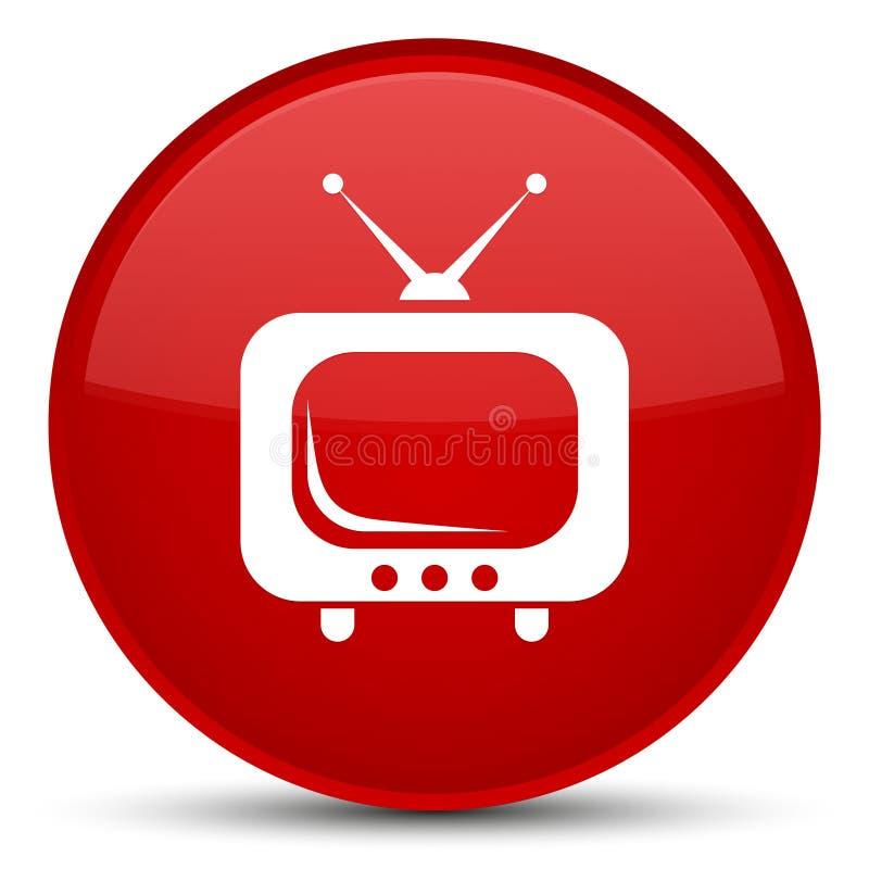 Special röd rund knapp för TVsymbol stock illustrationer