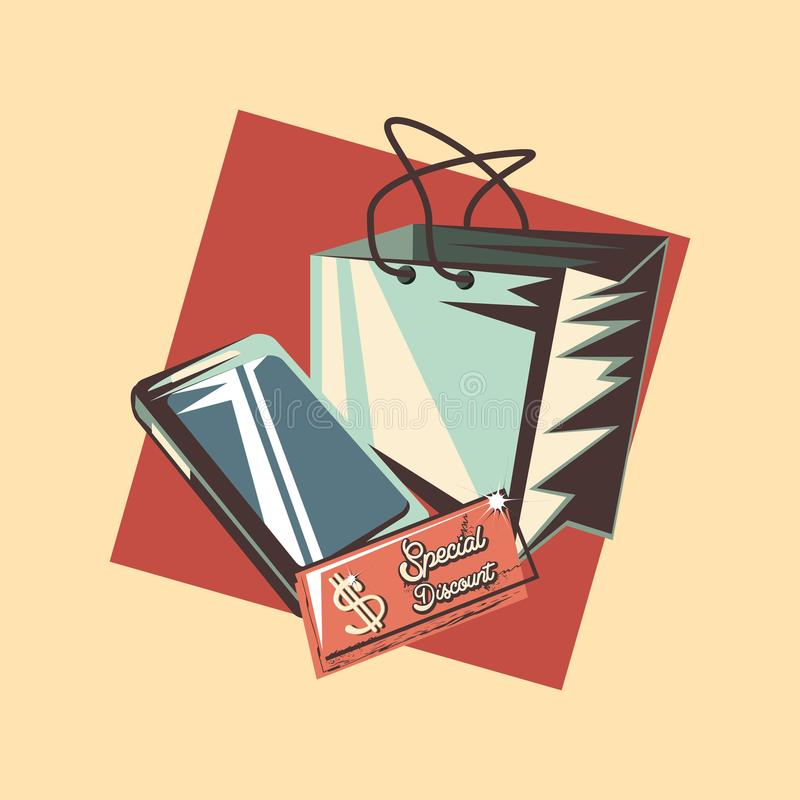 Special rabatt för Retro shoppingmobiltelefonpåse stock illustrationer