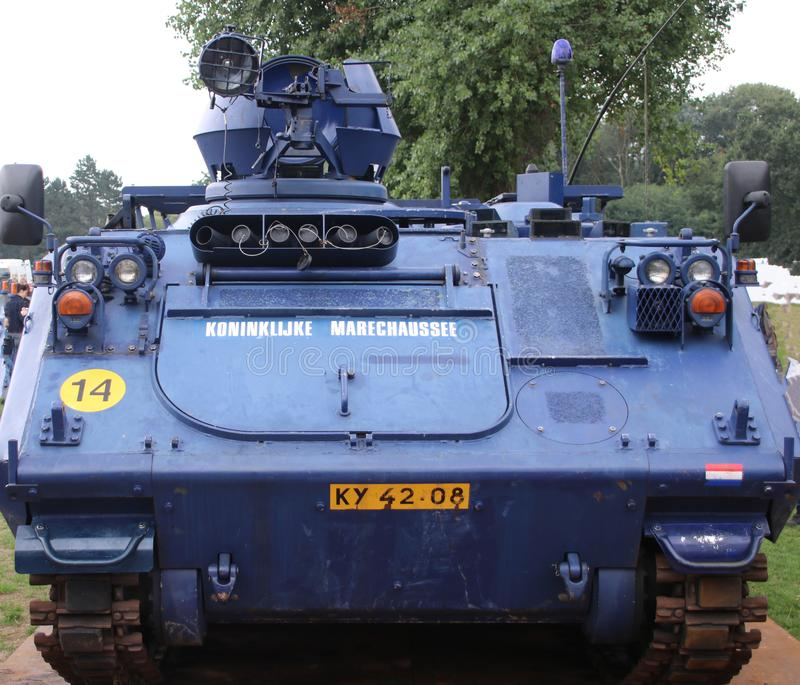 Special rank to be used at riots of a military police car in the Netherlands of the Koninklijke Marechaussee.  royalty free stock photos