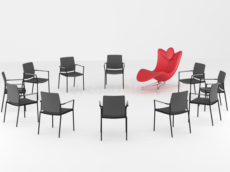Special red office armchair between ordinary. Special red comfortable office armchair between ordinary seats, render/illustration