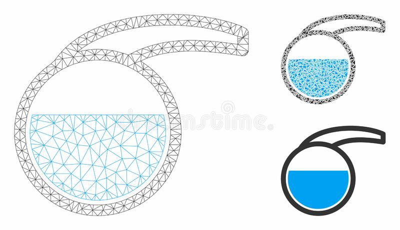 Special Retort Vector Mesh Carcass Model and Triangle Mosaic Icon. Mesh special retort model with triangle mosaic icon. Wire carcass triangular mesh of special vector illustration