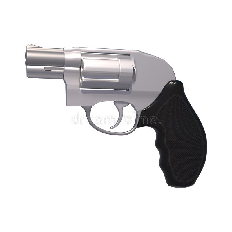 38 Special Revolver. 3D digital render of a 38 special revolver isolated on white background stock illustration